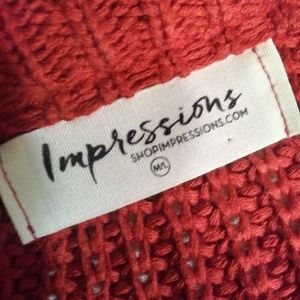 Impressions Sweaters - IMPRESSIONS western red crew neck sweater